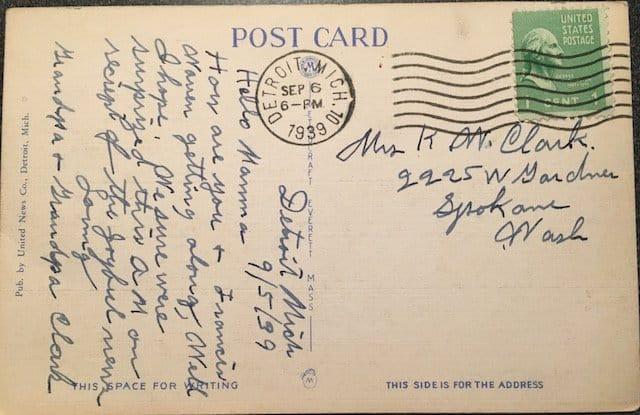 vintage postcard 1939