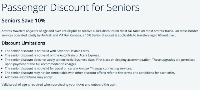 Amtrak Senior Discounts