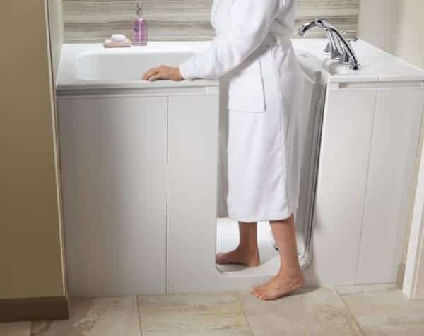 A walk-in tub provides safety and peace of mind.