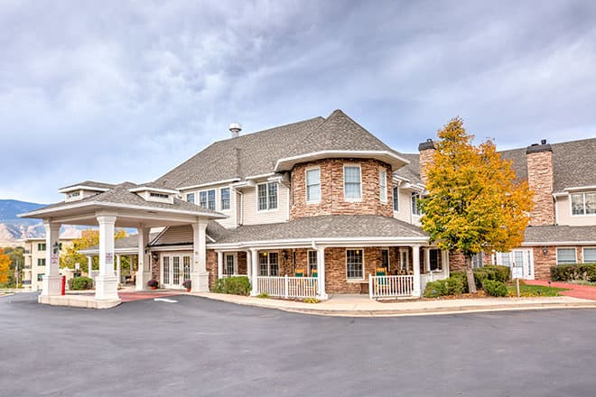 Assisted living in Colorado Springs, Colorado. Brookdale Monument Valley Park entrance.