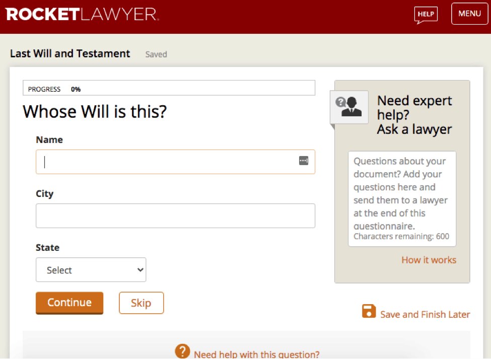 Rocket Lawyer Last Will and Testament