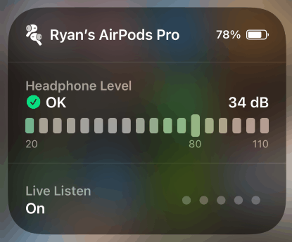 Using AirPods Live Listen