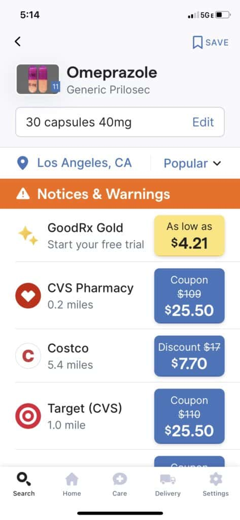 comparing Prices with GoodRx