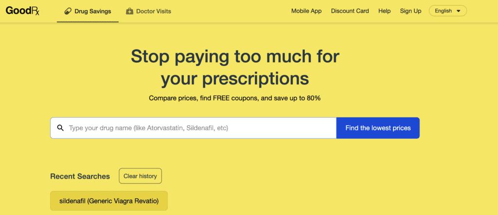 GoodRx Homepage